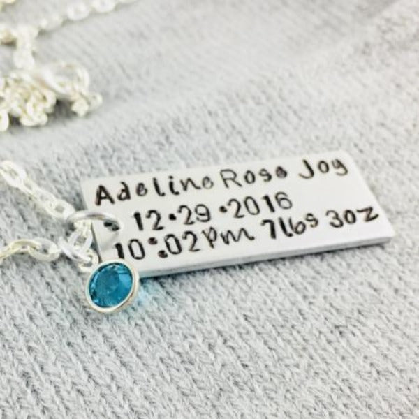 Hand Stamped Trinkets Necklace Baby Keepsake Jewelry - Personalized Birth Announcement Idea