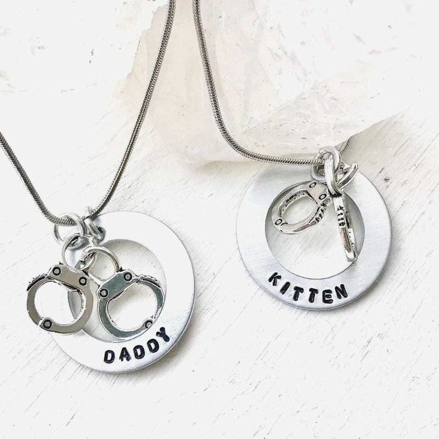 Hand Stamped Trinkets Necklace BDSM O Ring Choker Necklace - Daddy Kitten