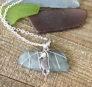 Hand Stamped Trinkets Necklace Blue Green Beach Glass Necklace Pendant with Seahorse Charm