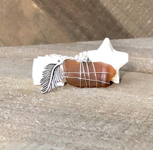 Hand Stamped Trinkets Necklace Brown Sea Glass - Carved Leaf Charm Wire Wrapped Necklace