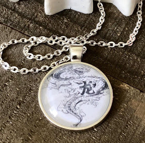 Hand Stamped Trinkets Necklace Chinese Dragon Pendant Necklace