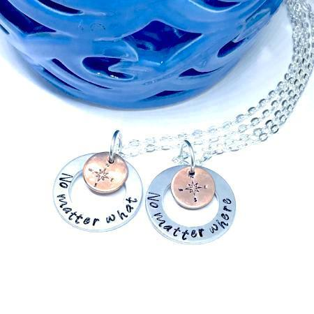 Hand Stamped Trinkets Necklace Custom Best Friends Necklace - No Matter What Compass