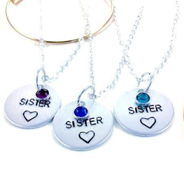 Hand Stamped Trinkets Necklace Custom Matching Sisters Necklaces with Birthstones