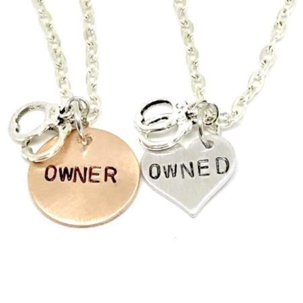 Hand Stamped Trinkets Necklace Dom Sub Jewelry | Owner and Owned Couples Set