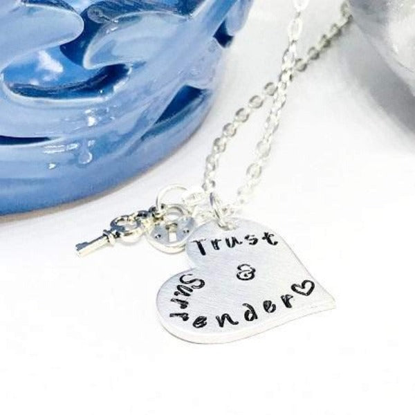 Hand Stamped Trinkets Necklace Dom Sub Jewelry - Trust and Surrender Necklace