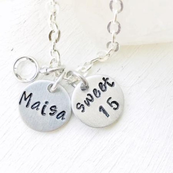 Hand Stamped Trinkets Necklace Gift Idea for 15 Year Old Daughter - Teenage Girl - Necklace