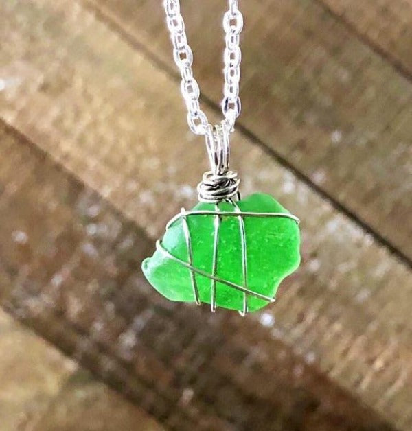 Hand Stamped Trinkets Necklace Green Sea Glass Jewellery Necklace