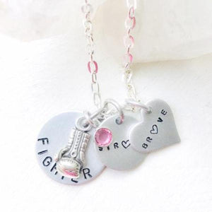 Hand Stamped Trinkets Necklace Inspirational Gift for Cancer Patient | Strong Brave Fighter Necklace