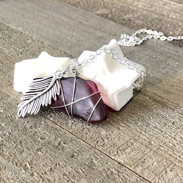 Hand Stamped Trinkets Necklace Ocean Sea Red Glass Necklace Pendant with Carved Leaf