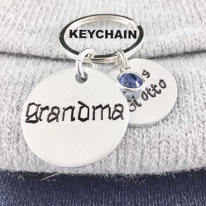 Hand Stamped Trinkets Necklace Personalized Gifts For Grandma, Birthstone Necklace