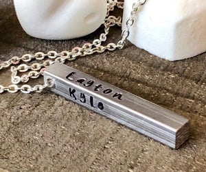 Hand Stamped Trinkets Necklace Personalized Gifts for Him or Her, 3D bar