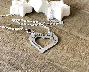 Hand Stamped Trinkets Necklace Personalized Open Heart Name Necklace with Date