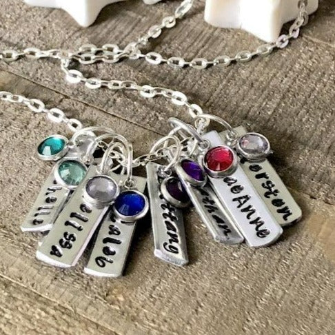 Sterling silver mom necklace with kids names custom hand stamped Lightly Hammered personalized bar necklace
