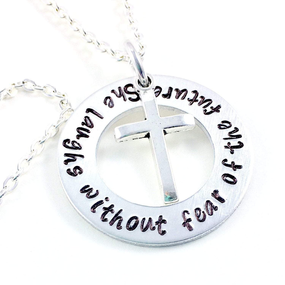 Hand Stamped Trinkets Necklace Proverbs 31 Jewelry, She Laughs Without Fear Of The Future