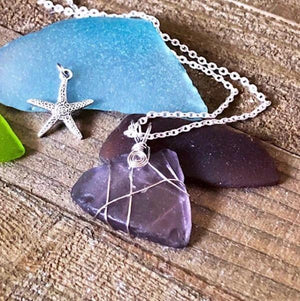 Hand Stamped Trinkets Necklace Purple Sea Glass Wire Wrapped Necklace