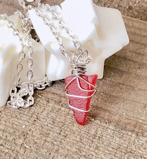Hand Stamped Trinkets Necklace Red Beach Glass Wire Wrapped Necklace