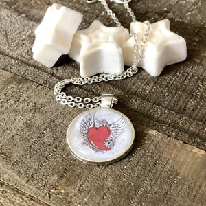 Hand Stamped Trinkets Necklace Red Flying Heart with Wings Pendant Necklace