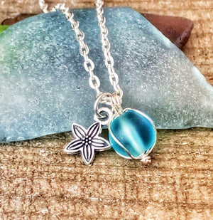 Hand Stamped Trinkets Necklace Seaglass Marble and Starfish Necklace - Blue Green Sea Glass