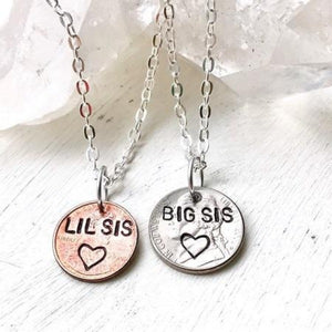 Hand Stamped Trinkets Necklace Sister Jewelry Sets | Big Sis Lil Sis Necklaces