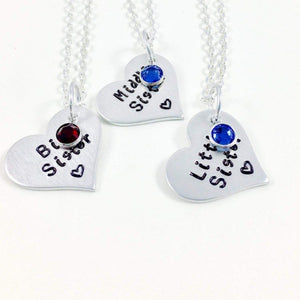 Hand Stamped Trinkets Necklace Sisters Heart Necklace Set with Swarovski Birthstones