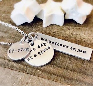 Hand Stamped Trinkets Necklace Sober Recovery Never Give Up Gift - Necklace, Key Ring, Bracelet