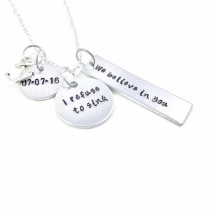 Hand Stamped Trinkets Necklace Sobriety Jewelry, I Refuse To Sink