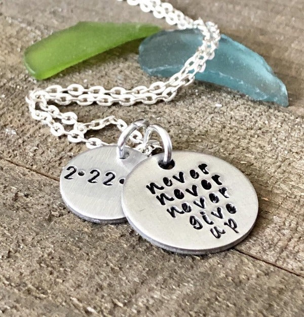 Hand Stamped Trinkets Necklace Sobriety Jewelry {Never Give Up Necklace}