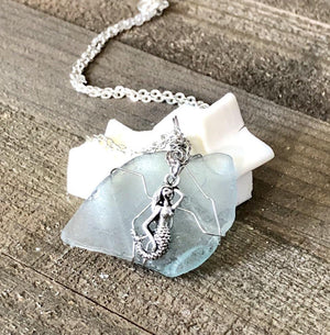 Hand Stamped Trinkets Necklace Teal Blue Sea Glass Necklace with Mermaid Charm - Hand Wrapped Pendant