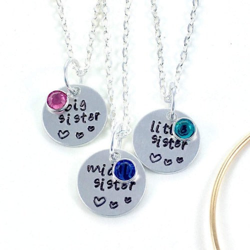 Hand Stamped Trinkets Necklace Three siblings necklace, matching necklaces siblings