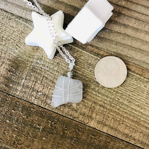 Hand Stamped Trinkets Necklace White Sea Glass Necklace - Hand Wrapped Pendant