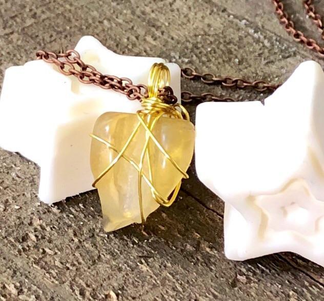Hand Stamped Trinkets Necklace Yellow Sea Glass Necklace  |  Wire Wrapped Pendant
