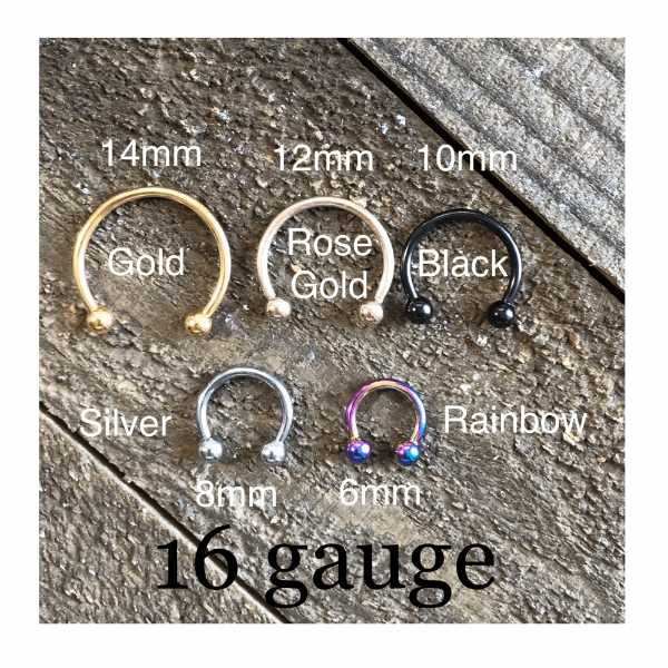 Hand Stamped Trinkets Nose Jewelry 16g Gauge Nose Septum Piercing - 14mm to 6mm, 5 Colors