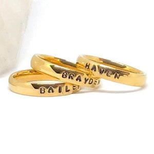 Hand Stamped Trinkets Rings 14k Gold Filled Stacking Name Rings Mom