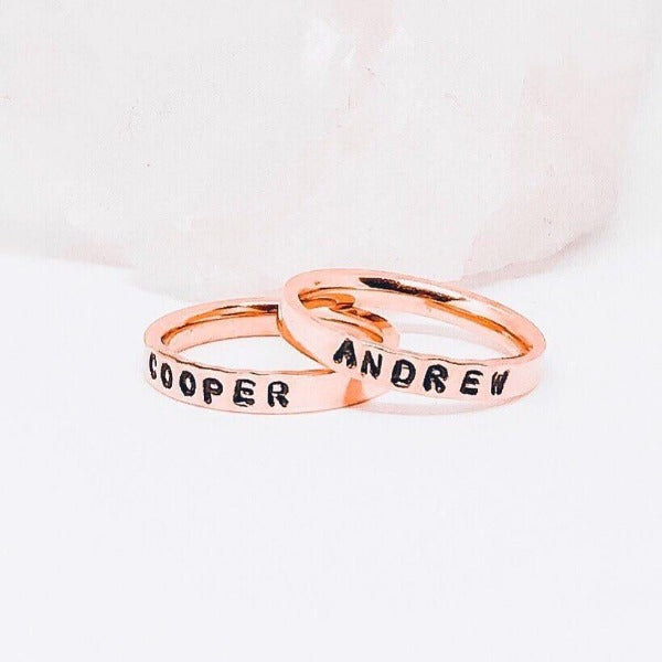 Hand Stamped Trinkets Rings 14k Rose Gold Filled Stack Name Rings Mom