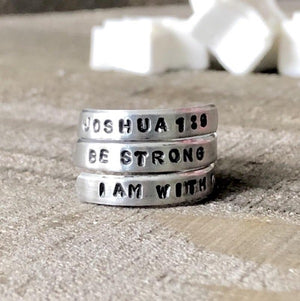 Hand Stamped Trinkets Rings Bible Verse Ring |Scripture Ring for Women