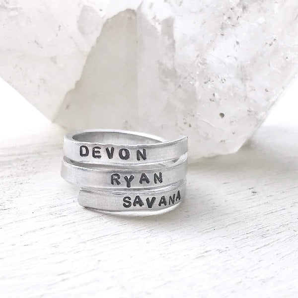 Hand Stamped Trinkets Rings Boho Rings - Engraved and Adjustable - Wide and Skinny