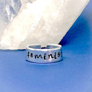 Hand Stamped Trinkets Rings Feminist Ring, Feminism Gift - Adjustable Statement Ring