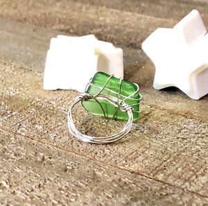 Hand Stamped Trinkets Rings Handmade Green Sea Glass Ring
