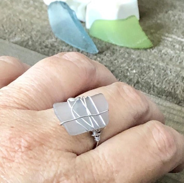 Hand Stamped Trinkets Rings Handmade White SeaGlass Ring