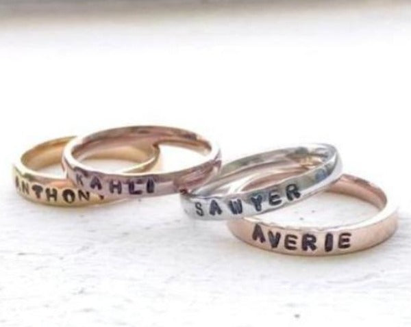 Hand Stamped Trinkets Rings Mixed Metal Stackable Name Rings • Personalized