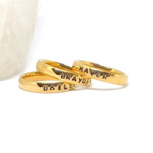 Hand Stamped Trinkets Rings Name Rings Stackable Gold Stainless Steel