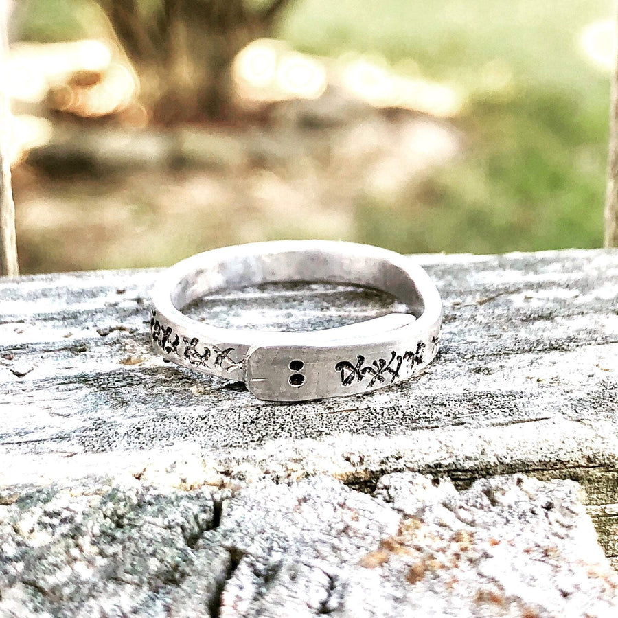 Hand Stamped Trinkets Rings Ouroboros Hammered Snake Ring - Engraved and Adjustable