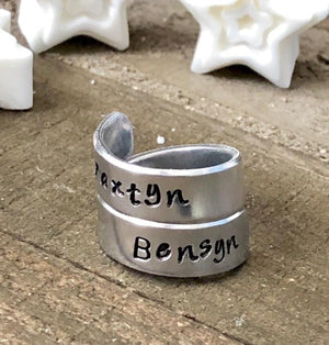 Hand Stamped Trinkets Rings Personalized Adjustable Double Wrap Boho Name Rings