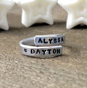 Hand Stamped Trinkets Rings Personalized Double Twist Stacking Rings- Engraved and Adjustable