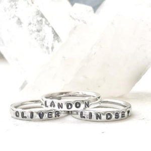 Hand Stamped Trinkets Rings Personalized Stackable Mothers Rings Sterling Silver Filled