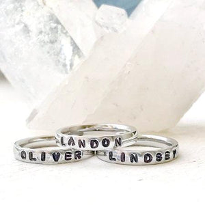 Hand Stamped Trinkets Rings Personalized Stackable Name Rings With Kids Names