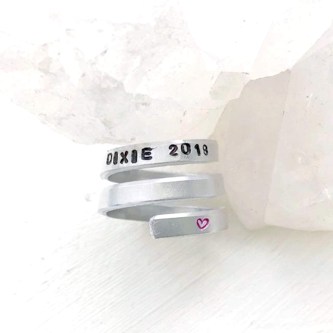 Hand Stamped Trinkets Rings Pet Loss Gifts - Engraved Ring Wraps