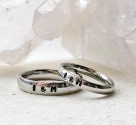 Hand Stamped Trinkets Rings Promise Rings for Couples