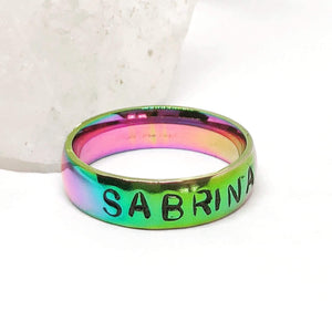 Hand Stamped Trinkets Rings Rainbow Rings, Wedding Band Personalized
