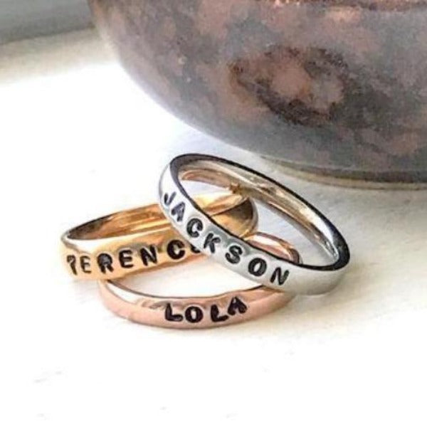 Hand Stamped Trinkets Rings Stackable Name Rings - Colored Rings Mixed Metal